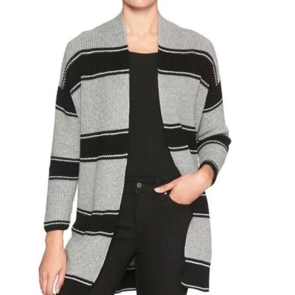 GAP Black Grey Stripe Open Textured Knit Cardigan